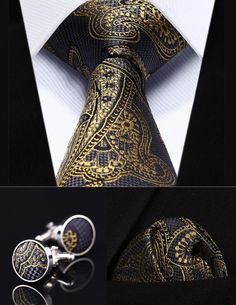 Gold Paisley Silk Men's Tie, Handkerchief, and Cufflinks Set  Price: 29.80 & FREE Shipping  #mensclothing|#mensfashion|#mensgifts|#accessories