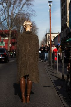 knit dress & boots. Paris. #TheSartorialist