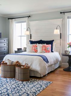Using shiplap boards on your walls creates a breezy, beachy causal vibe with a hint of rusticity and some cottage country charm, makes a great focal point!