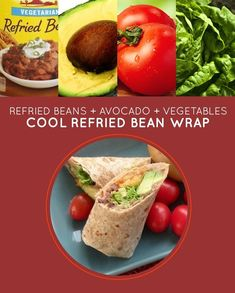Cool Refried Bean Wrap | 15 Brown-Bag Lunch Sandwiches With No Meat #lunch #recipe #easy #eatclean