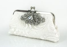Ivory Lace Bridal Clutch with Stunning Crystal Lace by ANGEEW, $120.00