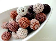 Neutral Organic Crocheted Beads by ThreeBlueBee on Etsy