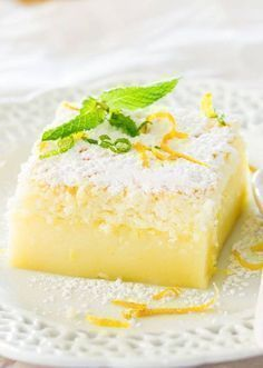 You& never believe how good this Lemon Magic Cake is! It& a simple lemon cake recipe made with one batter that separates into three different layers while baking. This separation process is what makes it magic cake. Lemon Desserts, Lemon Recipes, Just Desserts, Sweet Recipes, Delicious Desserts, Yummy Food, Delicious Chocolate, Fall Recipes, Lemon Magic Cake Recipe