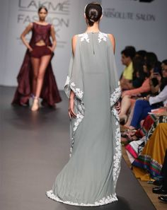 Bay Leaf Lace Kaftan Dress greywhiteKL11 - Styletag