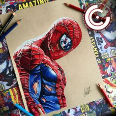 High Quality Prints of my Spiderman drawing.Each and every print will be hand signed. Originally Hand drawn on Toned Tan with Copic Markers and Polychromo Pencils. Spiderman Lamp, Spiderman Tattoo, Spiderman Drawing, Comic Book Characters, Comic Books Art, Comic Art, Cartoon Drawings, Art Drawings, Comic Kunst