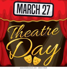 Stage decorated with red curtains, sign with the date and lights ready for special presentation in the Theatre Day celebration this March World Theatre Day, Red Curtains, Celebration, Stage, Royalty Free Stock Photos, Presentation, Dating, March, Mac