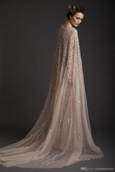 2014 Wedding Dresses A-Line Crew Champagne See-Through Tulle Bridal Gowns Appliques Beads Watteau Evening Dress Krikor Jabotian Prom Gown