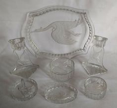 Leroc trinket set by Josef Inwald Pressed Glass, Joseph, Bohemian, Beautiful, Boho