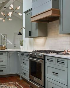 Kitchen Cabinets Farrow And Ball, Blue Gray Kitchen Cabinets, Kitchen Cabinet Interior, Shaker Kitchen Cabinets, Kitchen Cabinet Colors, Grey Kitchens, Kitchen Decor, Kitchen Layout, Kitchen Colors