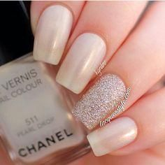 Pretty and light champagne color nails