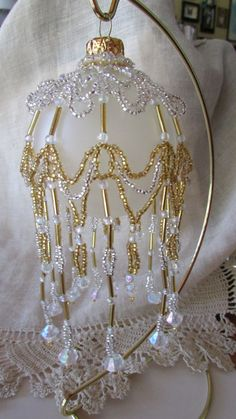 Gold and Silver Hand Beaded Victorian Ornament Cover