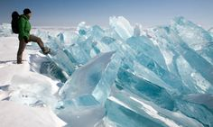 """Wiinter on Lake Baikal, Photograph: Olivier Renck/Getty    Lake Baikal, meaning """"nature lake"""" is the world's oldest lake, at 25 million years (possibly older), and deepest, averaging 744.4 m (2,442 ft)."""