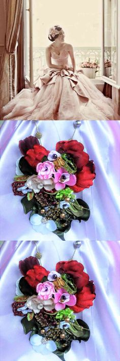 Flower Necklace,  Flower Necklace, floral,,Fabric Necklace,, Rhinestones, Hair Accessory  Juliet ~ coming soon / This is my custom signature... (via pushapin.com)