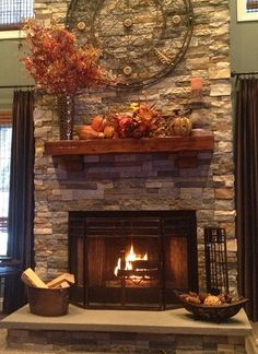 interior design with rustic style | fall mantel decorations