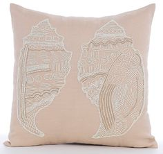 Beige Throw Pillows Cover, Square Beaded Sea Shell Sea Creatures Ocean U0026  Beach Theme 16