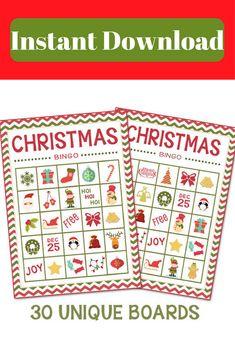 Instant Download-Christmas Bingo + Memory Game (30 Boards). Instant Download. Christmas Crafts for the kids. Christmas games. Stocking Stuffers #ad