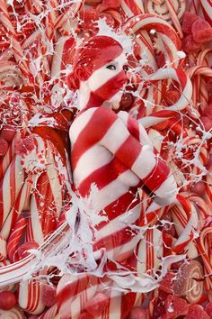 Candy Cane Splash Metal Print by Filippo Ioco. All metal prints are professionally printed, packaged, and shipped within 3 - 4 business days and delivered ready-to-hang on your wall. Op Art, Candy Cane Christmas, Merry Christmas, Arte Peculiar, Victor Vasarely, Woman Painting, Painting People, Model Photographers, Shades Of Red