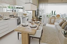 Amo Meu Ape: Sala e cozinha conjugadas