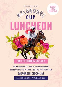 Melbourne Cup Luncheon Template - The biggest range of customisable Melbourne Cup posters and flyers that take the hassle out of organising your promotions. Choose a template and drag, drop and be done! #MelbourneCup #Events #SpringRacing #Racing