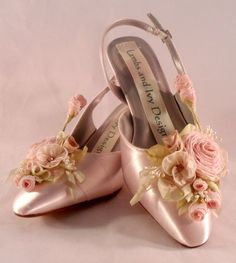 These fairytale wedding shoes have it all, , roses, vines and lace. each pair is handmade and custom designed just for you. The shoes may be designed