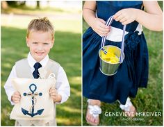 anchor ring bearer pillow on burlap and navy flower girl dress with metal bucket with yellow rose petals.