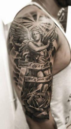 Tatuajes De Angeles Para Hombres En El Brazo Tatoos Pinterest