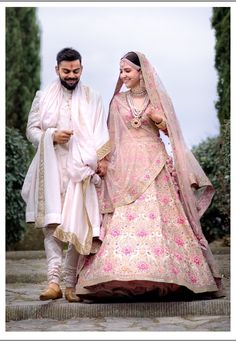Anushka Sharma Looked Royal in Pink Floral Lehenga By Sabyasachi – Lady India Couple Wedding Dress, Wedding Dresses Men Indian, Wedding Lehnga, Wedding Sherwani, Indian Bridal Lehenga, Bollywood Wedding, Indian Bridal Outfits, Indian Bridal Wear, Sherwani Groom
