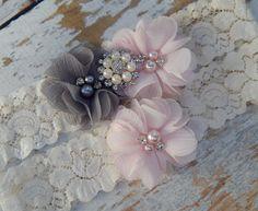 Gray and Blush Pink Garter Set  Wedding Garter  by LyaLyaCreations
