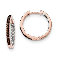 14K Rose Gold 2.3mm In/Out Coffee/White Diamond Hoop Earrings