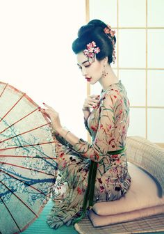 Gijo ( Gijo ) , it courtesan or geisha in China ] . A prostitute , also… Japanese Beauty, Japanese Fashion, Asian Fashion, Asian Beauty, Modern Fashion, Chinese Fashion, Floral Fashion, Japanese Kimono, Japanese Art
