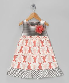 Take a look at this Red & White Crawfish Ruffle Dress - Toddler & Girls by SILLY MILLY on #zulily today!