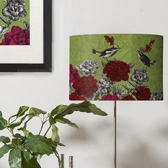 Floral Lampshade, Blooming Birds Rhododendron, lamp shade drum lamp lighting bird decor modern lamps contemporary designer lampshade flower