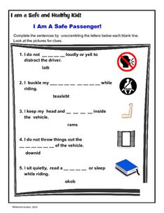 The activity focuses on safe riding passenger rules and practices such as seat belts, sitting quietly, windows, etc.  Students use reading strategies to complete sentences - picture clues and word scrambles!The activity meets common core and health education standards.Follow us this activity with the Seat Belt Safety Follow us!