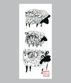 Chinese New Year of the sheep original sumi ink painting for Chinese Zodiac Astrology hand painted by Seiko Morningstar $25/ use code PIN10Zen for discount.