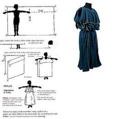 CHITON (peplos): Va fija a los hombros, dejando libres los brazos, no está unida a los lados, pero se sujeta a la cintura mediante un cinturón y se ata a las caderas. Chitón (traje básico unisex): formado por dos paños regulares unidos entre si, fijo a nivel de los hombros por medio de fíbulas o broches. Largos al tobillo para los adultos y cortos bajo rodilla o sobre ella, para los jóvenes. Celtic Clothing, Medieval Clothing, Historical Clothing, Iron Age, Greek Mythology Costumes, Greek Chiton, Greek Plays, Nativity Costumes, Greek Dress