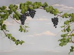 Grapevine Extension Wall Stencil by Jeff Raum Grape Painting, Wine Painting, Grape Tree, Grape Vines, Decoupage, Nursery Wall Decals, Wall Murals, Tuscan Art, Wine Bottle Vases