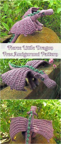 Fierce Little Dragon [Free Amigurumi Pattern] #crochet #freepattern #amigurumitoy #dragon #toys