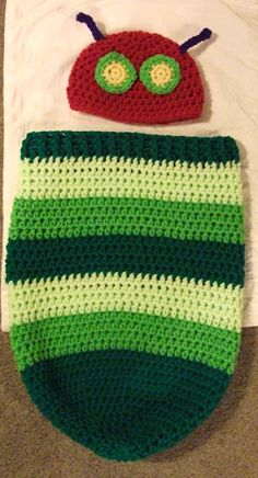 Very Hungry Caterpillar Newborn baby cocoon Crochet with hat
