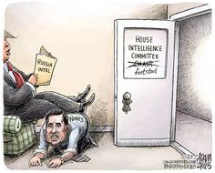 Adam Zyglis - The Buffalo News - Devin Nunes COLOR - English - devin nunes, gop, republican, house, intelligence, committee, chair, investigation, russia, trump, election, congress, footstool, collusion, white house