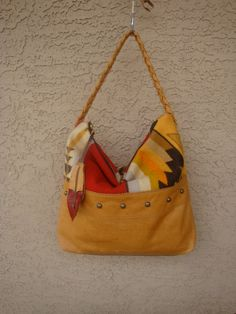 Buttery Golden Leather Slouchy Tribal Purse Handbag With Oregon Wool And Studs