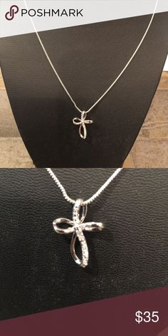 """Diamond Cross Pendant in Sterling Silver Cross Pendant with Diamond Accent, 18"""" chain & 1""""X1/2"""" pendant gold plated over Sterling Silver, NWOT Jewelry Necklaces"""