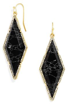 Marbled black stone surrounded by sparkling crystals adds unmistakable elegance to these diamond-shaped drop earrings.