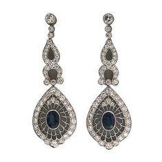 Vintage Edwardian Platinum 2.00CT Sapphire 2.25CT Diamond Dangle Earrings - petersuchyjewelers