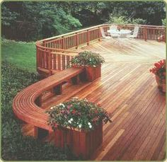 redwood deck with benches - Google Search