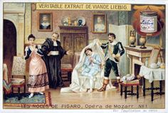 Scene from Mozart's opera The Marriage of Figaro, 1786 (1905). The Marriage of Figaro (Le Nozze di Figaro), comic opera (opera buffa) with libretto by Lorenzo da Ponte (1749-1838) after Beaumarchais, first performed on l May 1786 at the Burgtheater, Vienna. Count Almaviva uncovering the page Cherubino in his hiding place, an armchair. The other figures are Susanna, maid to Countess Almaviva, and Don Basilio, a music master. From Les Noces de Figaro, one of set of trade cards issued by…
