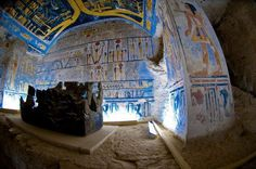 Tomb of Ramesses V and VI (KV9). This tomb had originally been used by pharaoh Ramses V, Ramses VI's predecessor who ruled for a mere four years. His brother then used this as his tomb rather than having a new one dug. Although the plan is logical--a basically straight corridor into the ground, the themes of the paintings are complicated and sophisticated.The ceiling of the burial chamber illustrates scenes from the Book of the Day and the Book of the Night. The goddess Nut is shown…