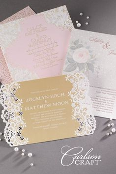 Your bride's style + Our unique options They add up to a wedding invitation that's one of a kind! The Jean M® Love + Paper album from Carlson Craft takes  customizing to a new level. Brides create their perfect look by choosing from a variety of back designs, papers, trim options,  pockets, designer envelopes, and printing processes like foil stamping, glitter printing, letterpress and laser cutting. (Sponsored)  #custom #weddinginvitations #carlsoncraft