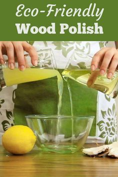 Make Easy Eco Wood Polish w/ just 2 Ingredients. Easy to use & non toxic. It's made out of liquid (fractionated) coconut oil & lemon juice. Diy Home Decor Projects, Diy Projects To Try, Decor Crafts, Diy Crafts, Wood Projects, Cleaning Recipes, Cleaning Hacks, Cleaning Solutions, Cleaning Supplies