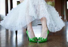 Gorgeous green bridal pumps by Nina Shoes available at Bella Bridesmaid in Dallas! Photo by Helmutwalker Photography #wedding #green #bridal #shoes #nina