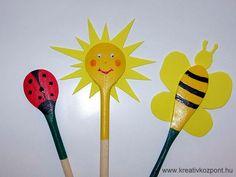 Fakanálbáb- napocska, katica, méhecske, wooden spoon puppet